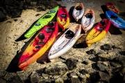 Beached Pod Of Kayaks