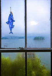 Stain glass fish which hangs in a window overlooking the Bay of Fundy--Lubec, Maine.