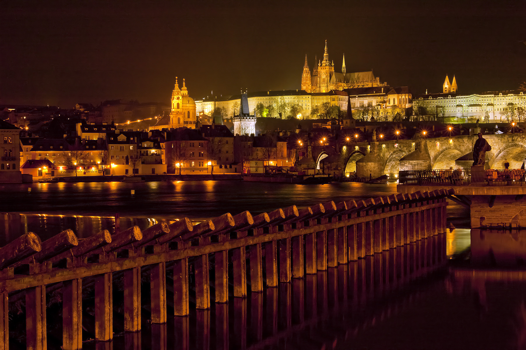 Night exposures and lighting resulted in the golden look of Prague Castle.
